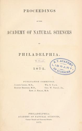 Download Proceedings of the Academy of Natural Sciences of Philadelphia, Volume 24