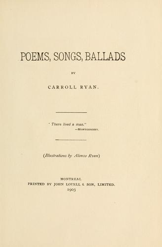 Poems, songs, ballads.