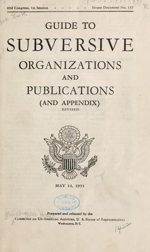 Guide to subversive organizations and publications (and appendix).