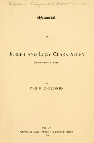 Download Memorial of Joseph and Lucy Clark Allen.