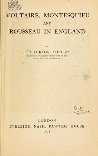 Download Voltaire, Montesquieu and Rousseau in England.