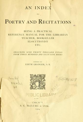 Download An index to poetry and recitations
