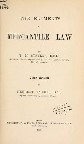 Elements of mercantile law.