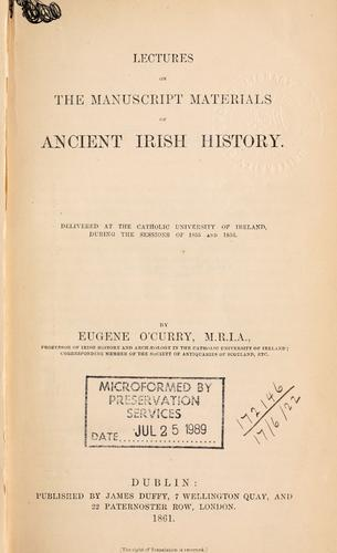 Download Lectures on the manuscript materials of ancient Irish history
