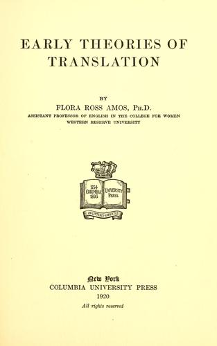 Download Early theories of translation