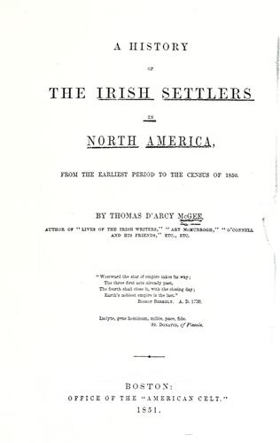 Download A history of the Irish settlers in North America