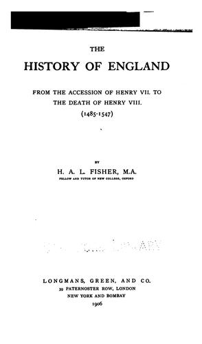 Download The history of England, from the accession of Henry VII. to the death of Henry VIII. (1485-1547)