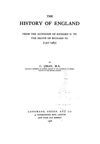 Download The history of England, from the accession of Richard II to the death of Richard III (1377-1485)