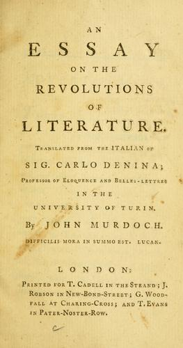 Download An essay on the revolutions of literature