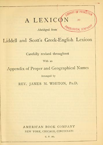 Download A lexicon abridged from Liddell and Scott's Greek-English lexicon.