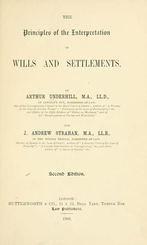 Download The principles of the interpretation of wills and settlements