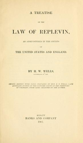 A treatise on the law of replevin