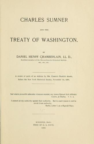 Charles Sumner and the treaty of Washington.