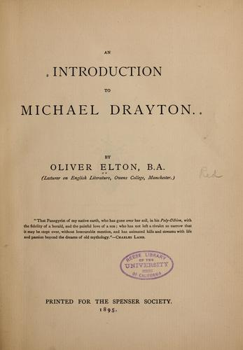 Download An introduction to Michael Drayton. —