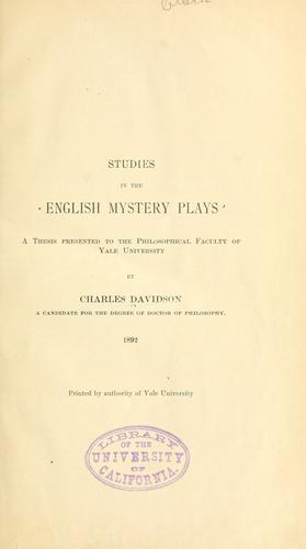 Download Studies in the English mystery plays.