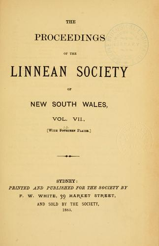 Download Proceedings of the Linnean Society of New South Wales.