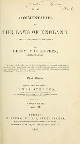 Download New commentaries on the laws of England.