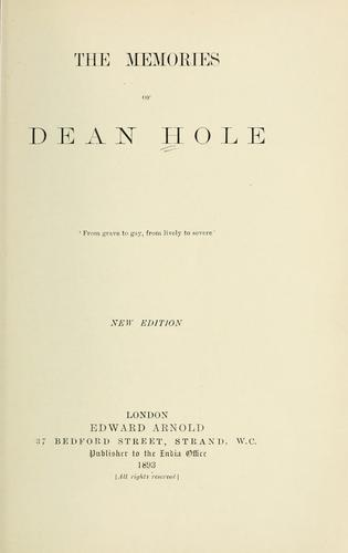 The memories of Dean Hole.