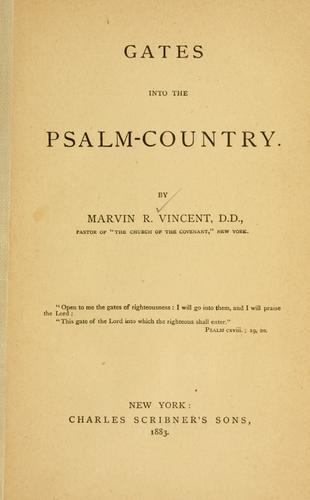 Gates into the Psalm-country.