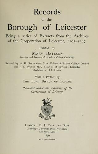 Download Records of the Borough of Leicester
