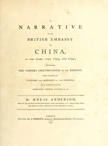 Download A narrative of the British embassy to China in the years 1792, 1793, and 1794