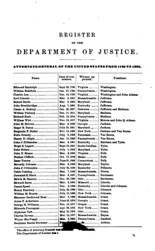 Register of the Department of Justice …