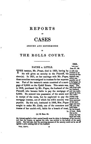 Report of Cases in Chancery: Argued and Determined in the Rolls Court During the Time of Lord …