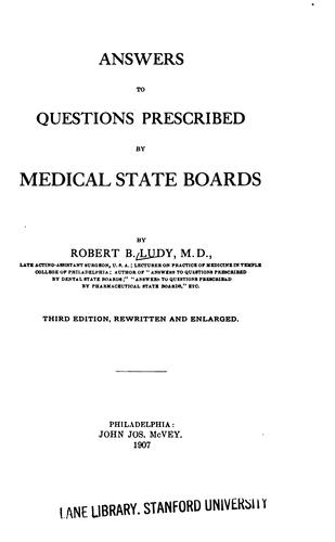 Answers to questions prescribed by medical state boards