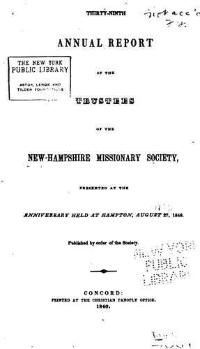 Annual Report of the Trustees of the New Hampshire Missionary Society