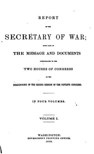Annual Report of the Secretary of War