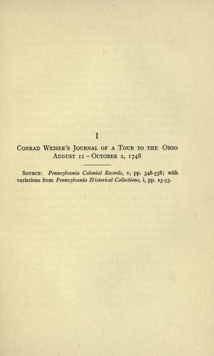 Conrad Weiser's journal of a tour to the Ohio, August 11-October 2, 1748 …