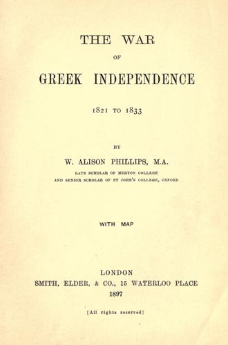 Download The war of Greek independence, 1821 to 1833.