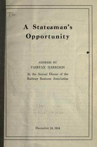 Download A statesman's opportunity