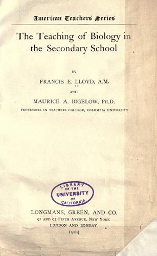 Download The teaching of biology in the secondary school