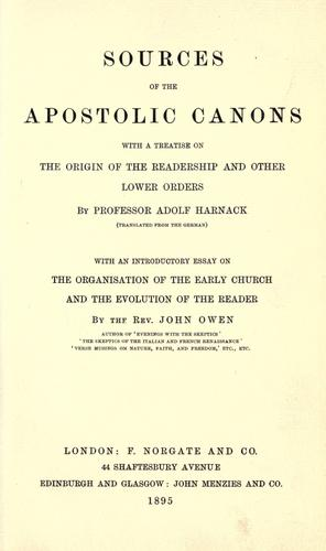 Download Sources of the Apostolic canons