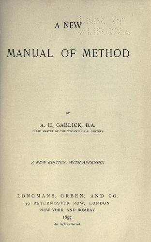 A new manual of method
