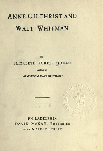 Anne Gilchrist and Walt Whitman.