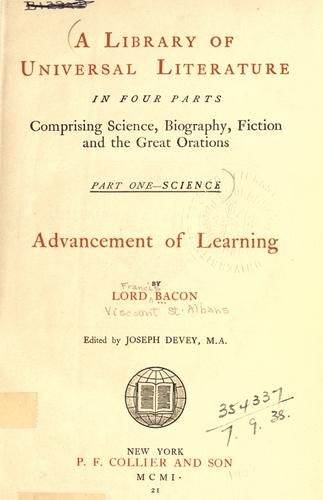 Download The  advancement of learning, and The new Atlantis.