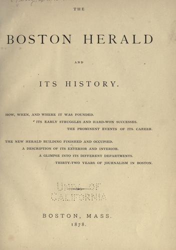 Download The Boston herald and its history