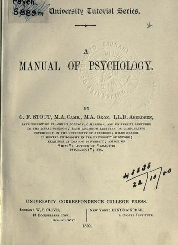 Manual of psychology.