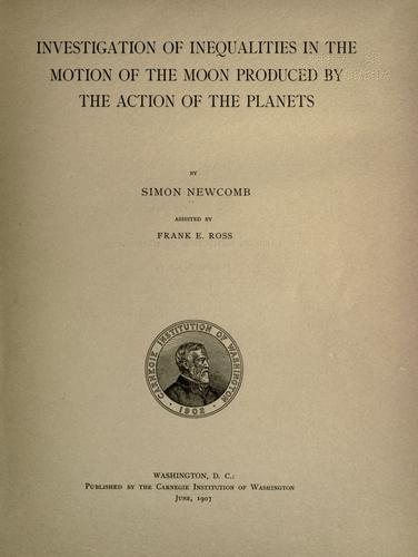 Download Investigation of inequalities in the motion of the moon produced by the action of the planets
