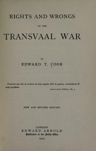 Rights and wrongs of the Transvaal War