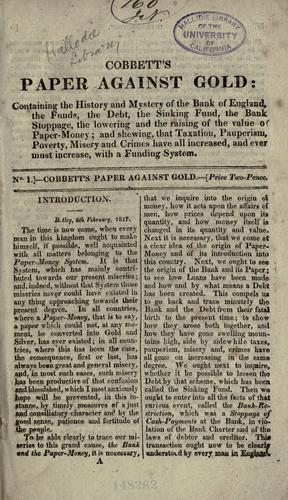 Cobbett's Paper against gold