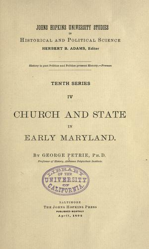 Church and state in early Maryland