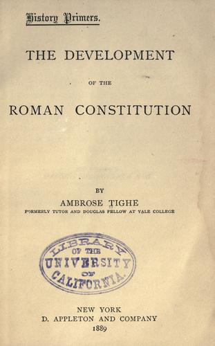 Download The development of the Roman constitution