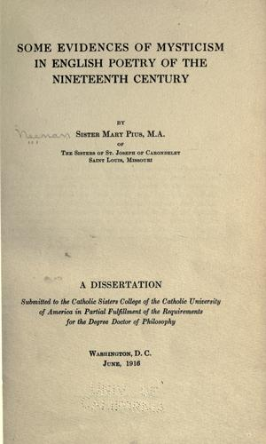Download Some evidences of mysticism in English poetry of the nineteenth century
