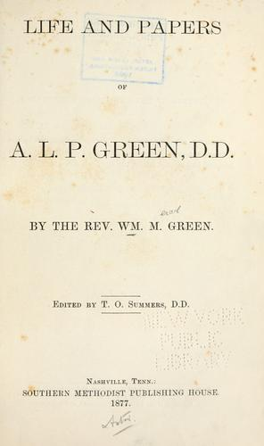 Download Life and papers of A.L.P. Green, D.D.