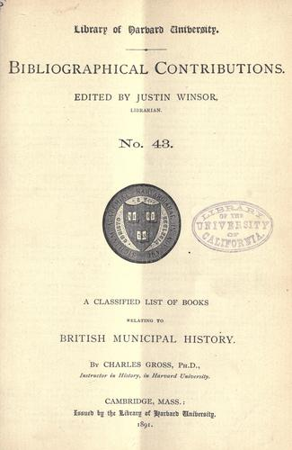 Download A classified list of books relating to British municipal history