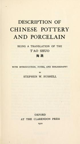 Description of Chinese pottery and porcelain
