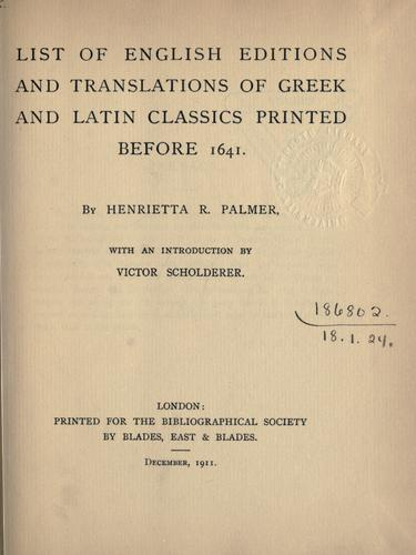 Download List of English editions and translations of Greek and Latin classics printed before 1641.